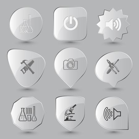 tehnology: Tehnology set. Vector glass buttons.