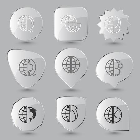 terrestrial mammal: Globe set. Vector glass buttons.