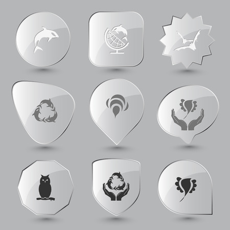Animal set. Vector glass buttons. Vector