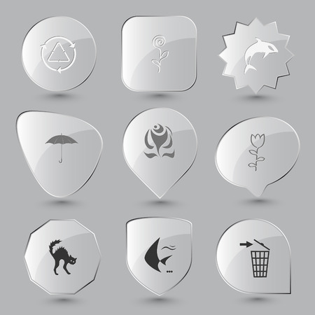 Nature set. Vector glass buttons. Vector