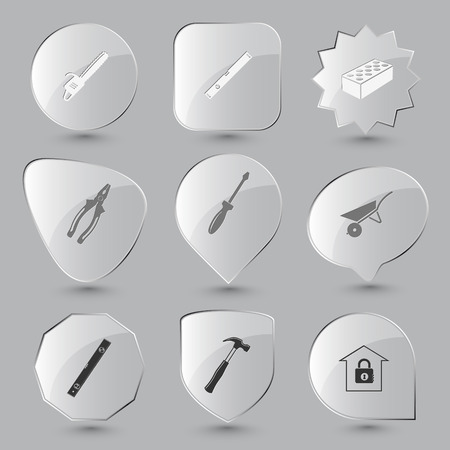 Industrial tools set. Vector glass buttons.  イラスト・ベクター素材