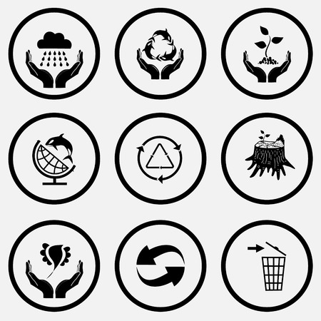 unicoloured: Ecology set. Black and white set vector icons.