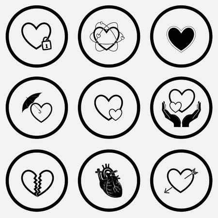 unicoloured: Heart shape set. Black and white set vector icons.