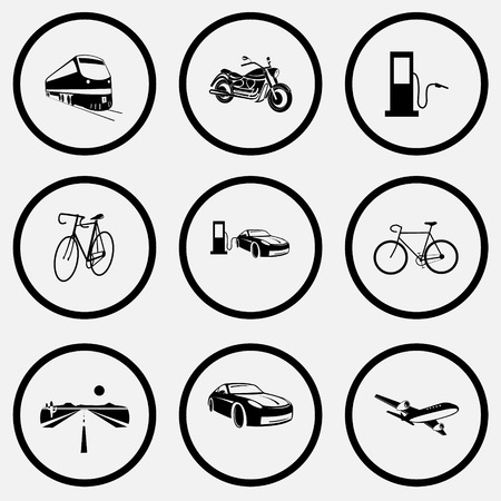 unicoloured: Transport set. Black and white set vector icons.