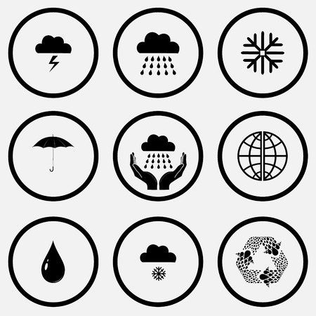 unicoloured: Weather set. Black and white set vector icons.