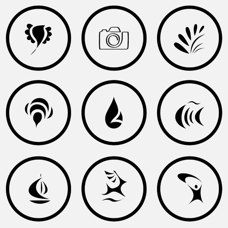 unicoloured: Abstract set. Black and white set vector icons. Illustration