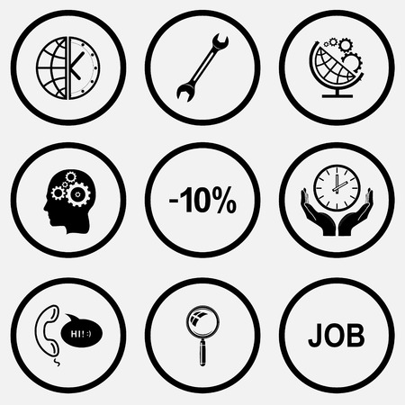unicoloured: Business set. Black and white set vector icons. Illustration