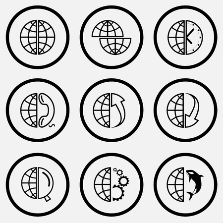 unicoloured: Globe set. Black and white set vector icons.