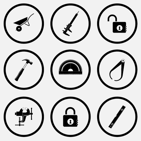 unicoloured: Industrial tools set. Black and white set vector icons. Illustration