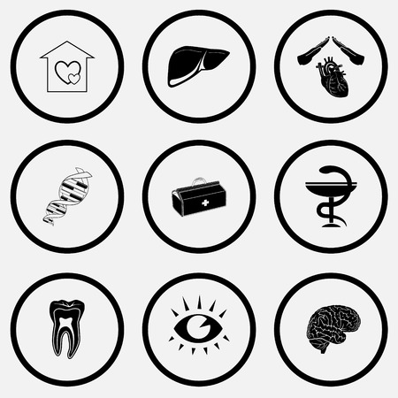 Medical set. Black and white set vector icons.