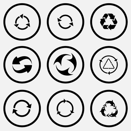 unicoloured: Recycle symbols set. Black and white set vector icons.