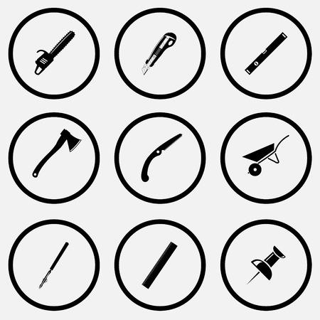 角度を設定します。黒と白のベクトル アイコンを設定します。  イラスト・ベクター素材