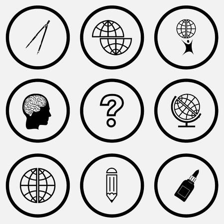 globe terrestre dessin: jeu de l'�ducation. Ic�nes vecteur ensemble noir et blanc.