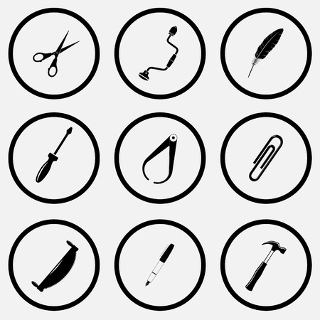 unicoloured: Angularly set. Black and white set vector icons.