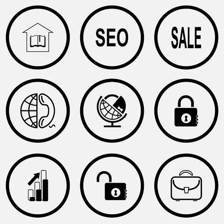 unicoloured: Business set. Black and white set vector icons. Illustration