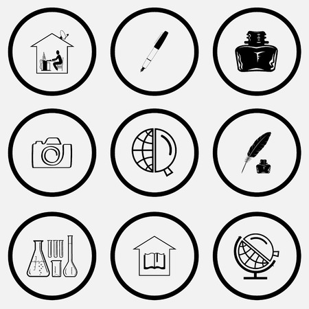 unicoloured: Education set. Black and white set vector icons.