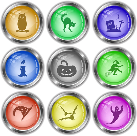 wax glossy: Mystic signs set. Vector internet buttons.