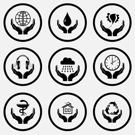 unicoloured: In hands set. Black and white set vector icons. Illustration