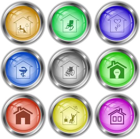 internet buttons: Home set. Vector internet buttons.