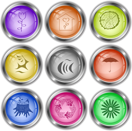 internet buttons: Nature set. Vector internet buttons. Illustration
