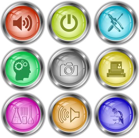 tehnology: Tehnology set. Vector internet buttons. Illustration
