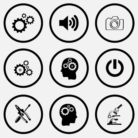 unicoloured: Tehnology set. Black and white set vector icons.