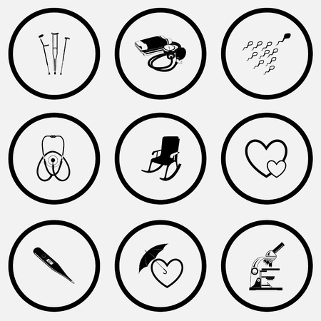 spermatozoid: Medical set. Black and white set vector icons.