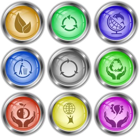 internet buttons: Ecology set. Vector internet buttons.