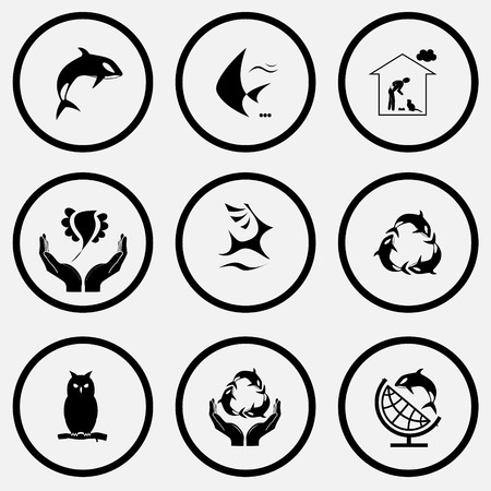 Animal set. Black and white set vector icons. Vector