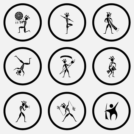 unicoloured: Ethnic set. Black and white set vector icons.