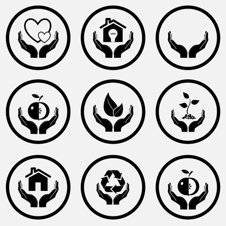 In hands set. Black and white set vector icons. Vector