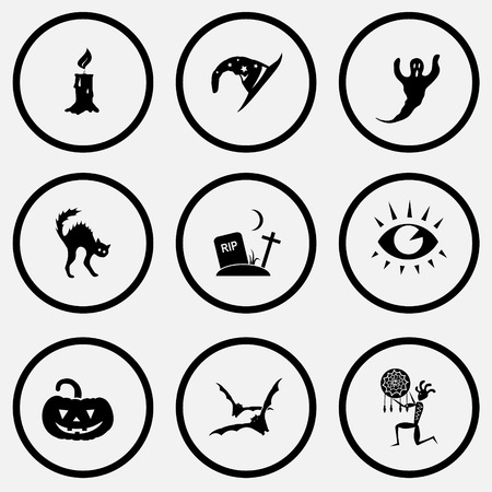 unicoloured: Mystic signs set. Black and white set vector icons. Illustration