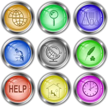 globe  the terrestrial ball: Education set. Vector internet buttons. Illustration