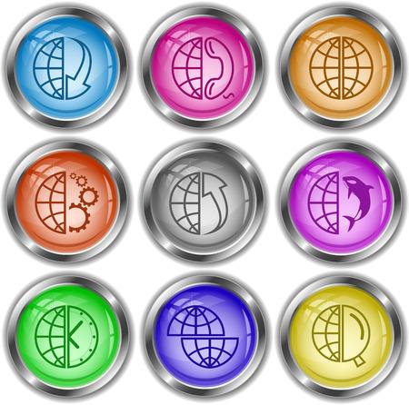 Globe set. Vector internet buttons. Vector