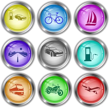 Transport set. Vector internet buttons. Vector