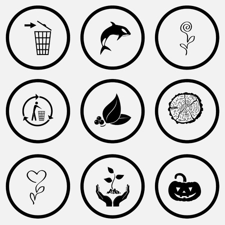 unicoloured: Nature set. Black and white set vector icons.
