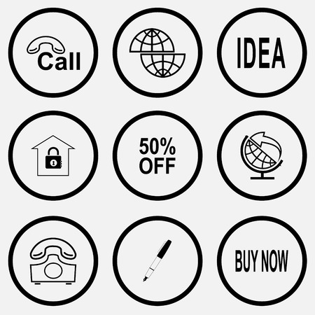 Business set. Black and white set vector icons. Vector