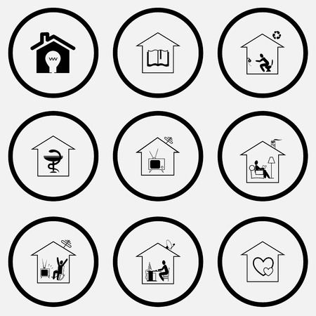 unicoloured: Home set. Black and white set vector icons.