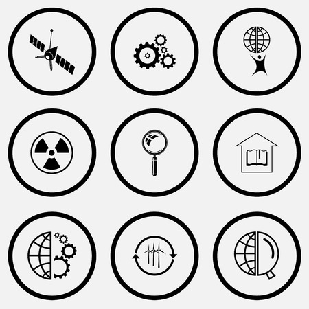 unicoloured: Science set. Black and white set vector icons.