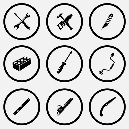 gasoline powered: Industrial tools set. Black and white set vector icons. Illustration