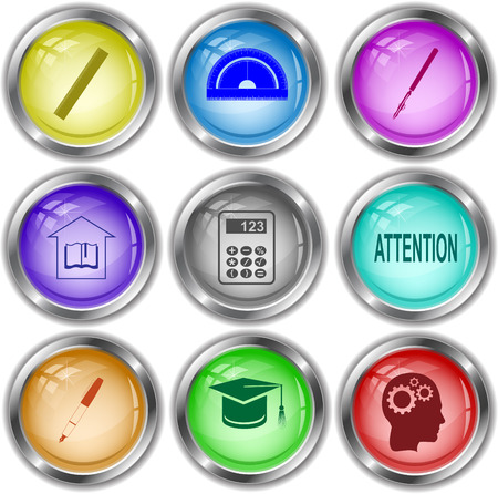 ruling: Education set. Vector internet buttons. Illustration