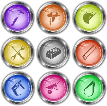 internet buttons: Industrial tools set. Vector internet buttons.