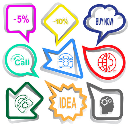 Business set. Paper stickers. Vector illustration. Vector