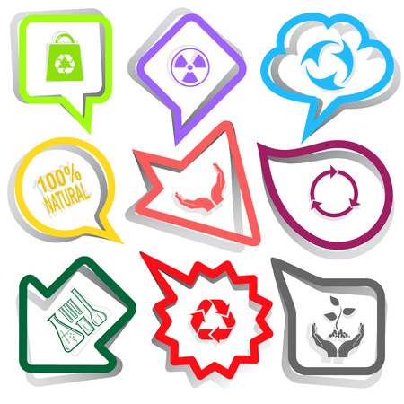 arrow poison: Ecology set. Paper stickers. Vector illustration.