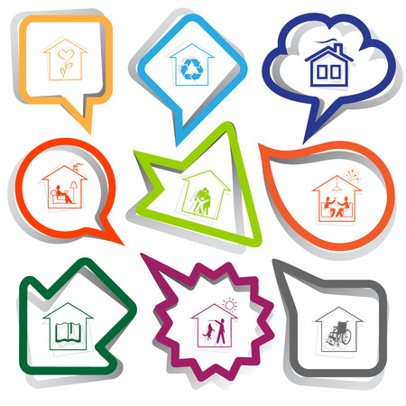 Home set. Paper stickers. Vector illustration. Vector
