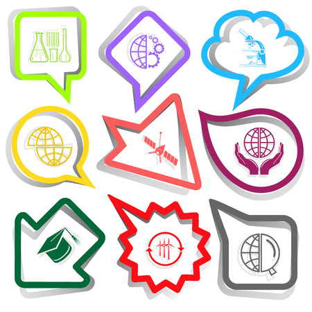 Science set. Paper stickers. Vector illustration. Vector