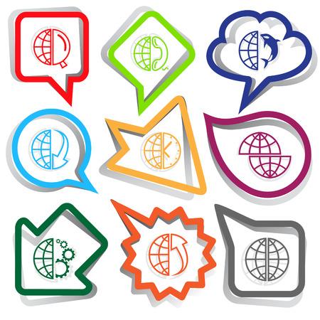 Globe set. Paper stickers. Vector illustration. Vector