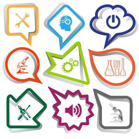 Tehnology set. Paper stickers. Vector illustration. Vector