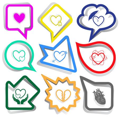 Heart shape set. Paper stickers. Vector illustration. Vector