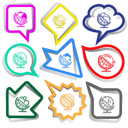 School globe set. Paper stickers. Vector illustration. Vector